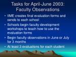 tasks for april june 2003 faculty observations