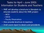 tasks for april june 2003 information for students and teachers