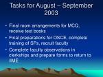 tasks for august september 2003