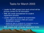 tasks for march 2003