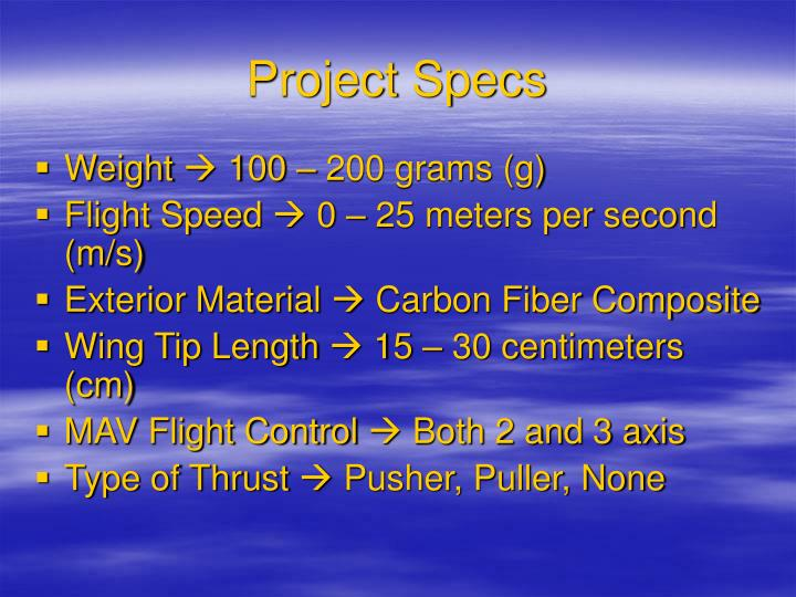 Project Specs