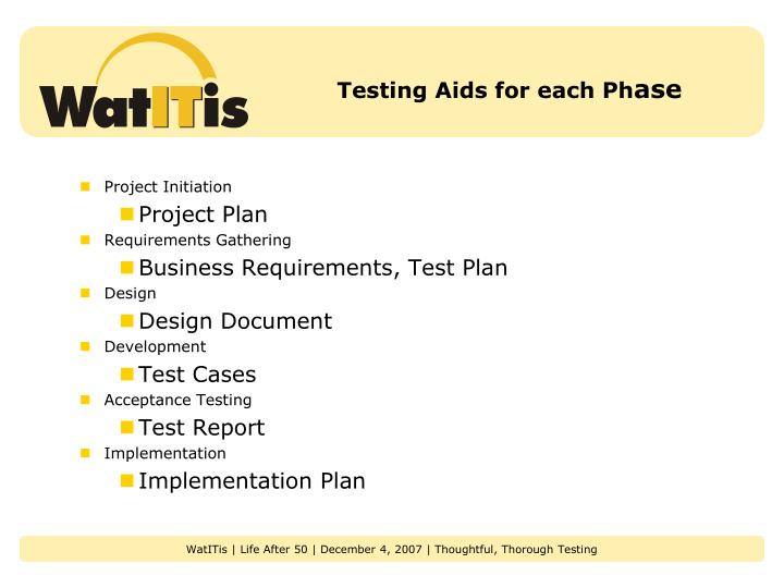 Testing Aids for each Ph