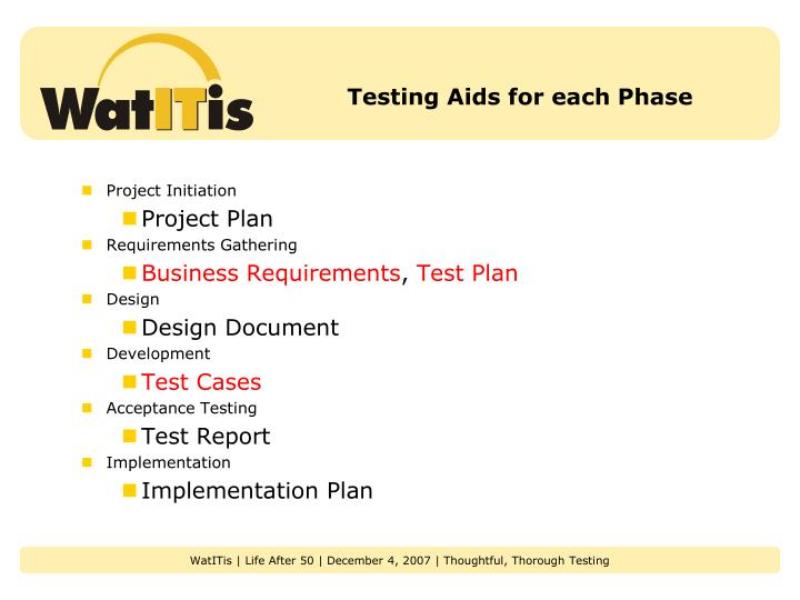 Testing Aids for each Phase