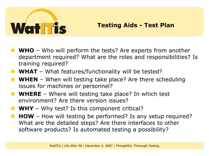 Testing Aids - Test Plan