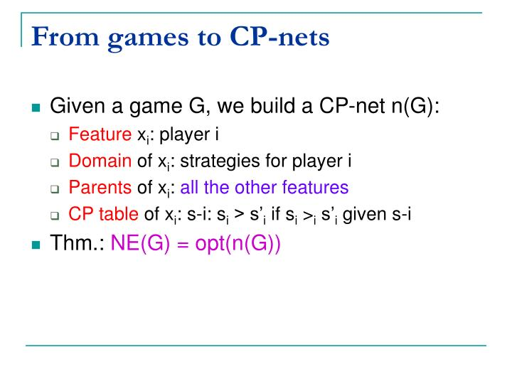 From games to CP-nets