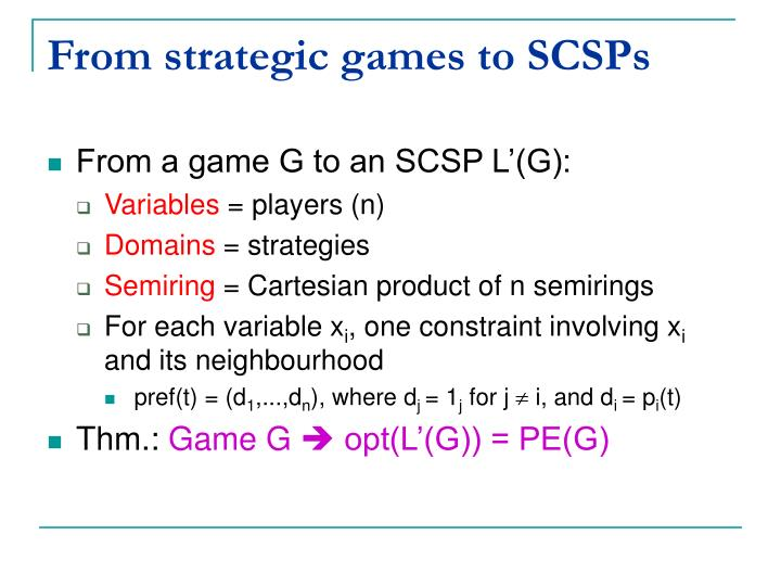 From strategic games to SCSPs