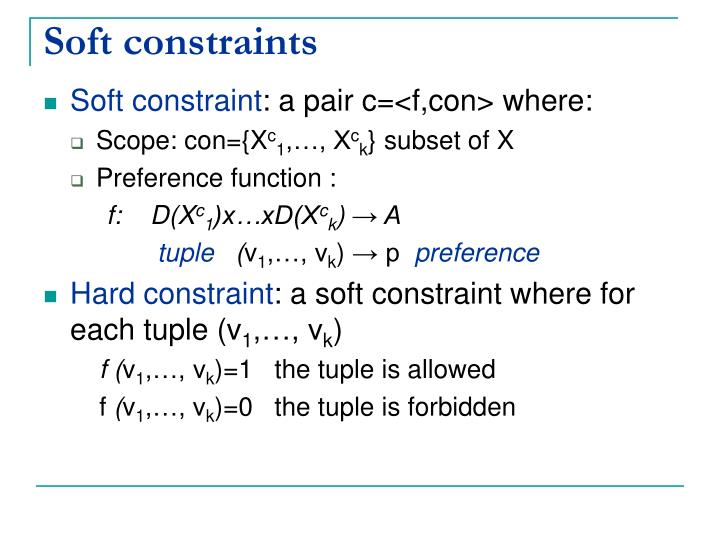Soft constraints