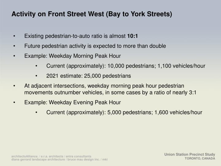 Activity on Front Street West (Bay to York Streets)