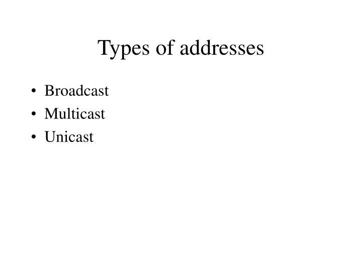Types of addresses