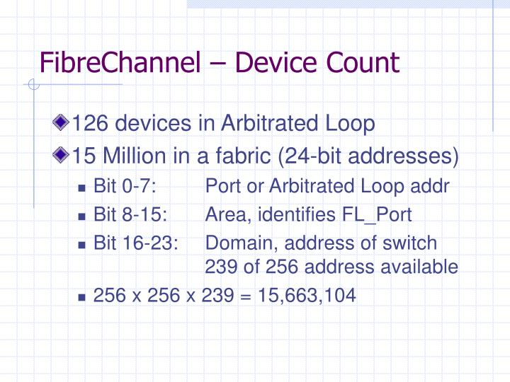 FibreChannel – Device Count