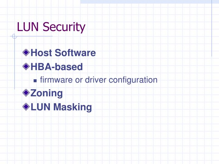 LUN Security