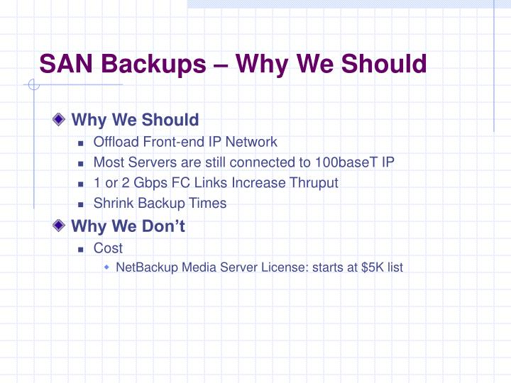 SAN Backups – Why We Should