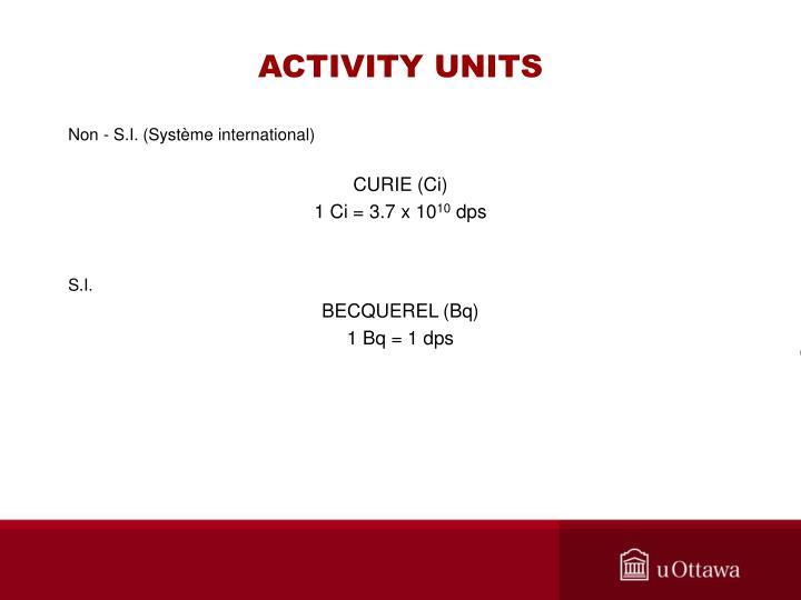 ACTIVITY UNITS