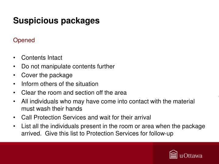 Suspicious packages