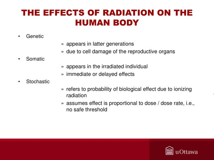 THE EFFECTS OF RADIATION ON THE HUMAN BODY