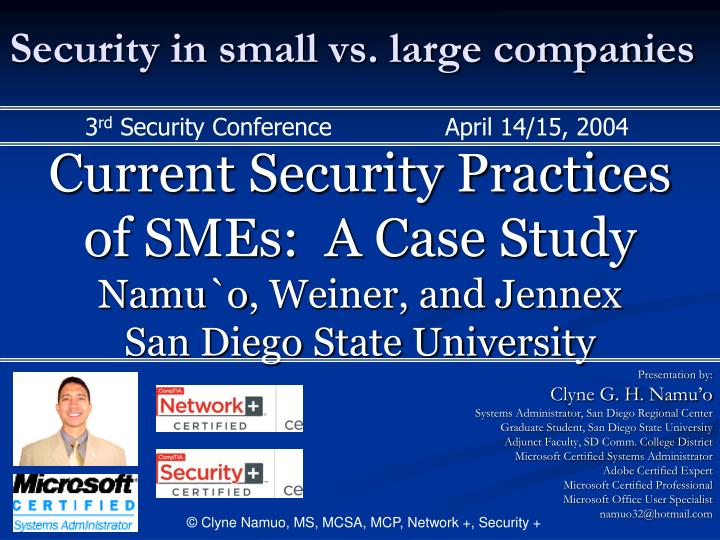 Security in small vs. large companies