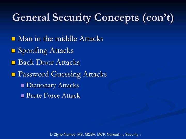 General Security Concepts (con't)