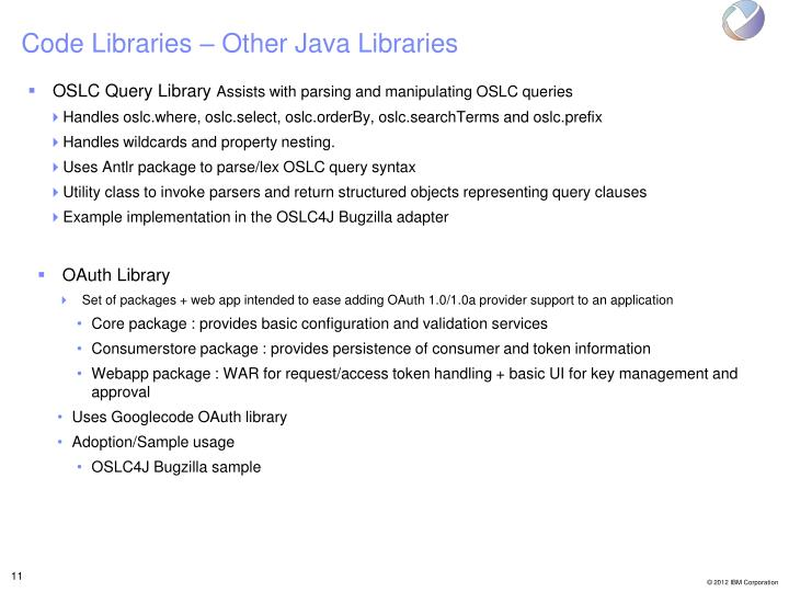Code Libraries – Other Java Libraries