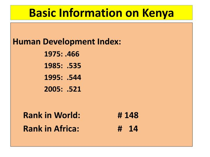Basic Information on Kenya