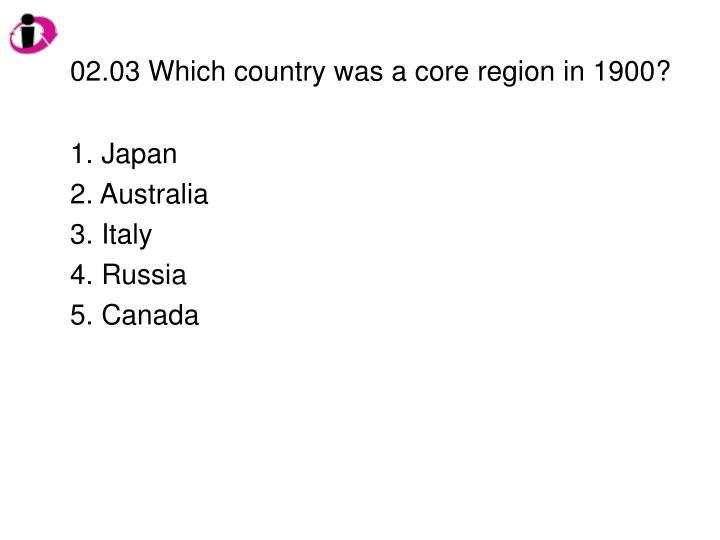 02.03 Which country was a core region in 1900?