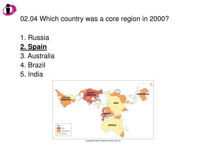 02.04 Which country was a core region in 2000?