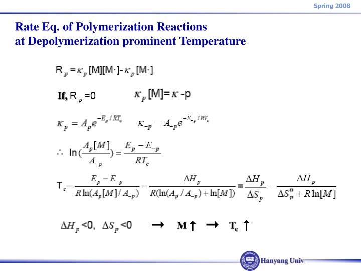 Rate Eq. of Polymerization Reactions