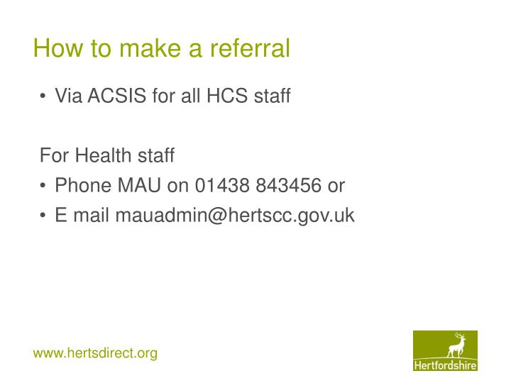 How to make a referral