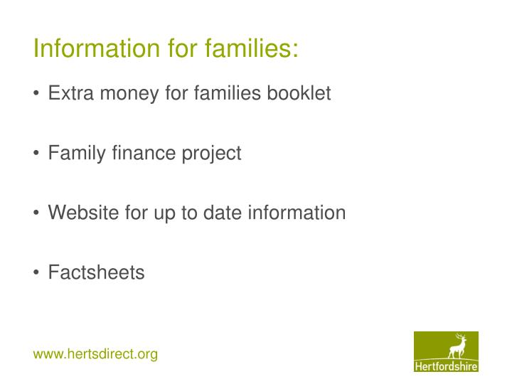 Information for families:
