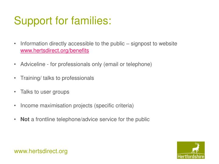 Support for families: