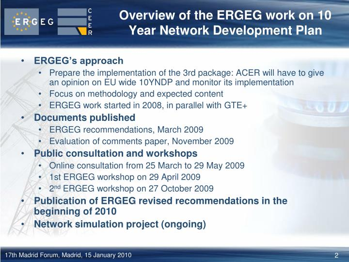 Overview of the ERGEG work on 10 Year Network Development Plan