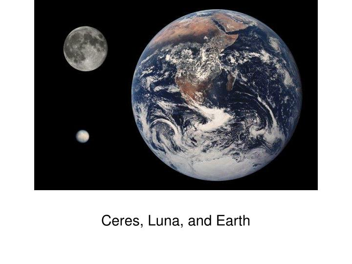 Ceres, Luna, and Earth