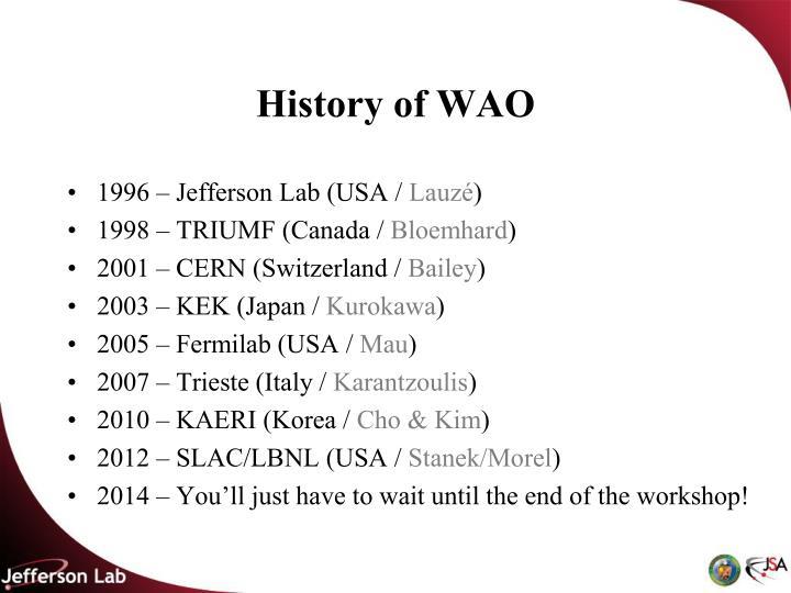 History of WAO
