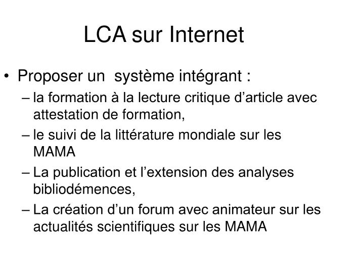LCA sur Internet