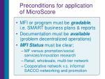 preconditions for application of microscore