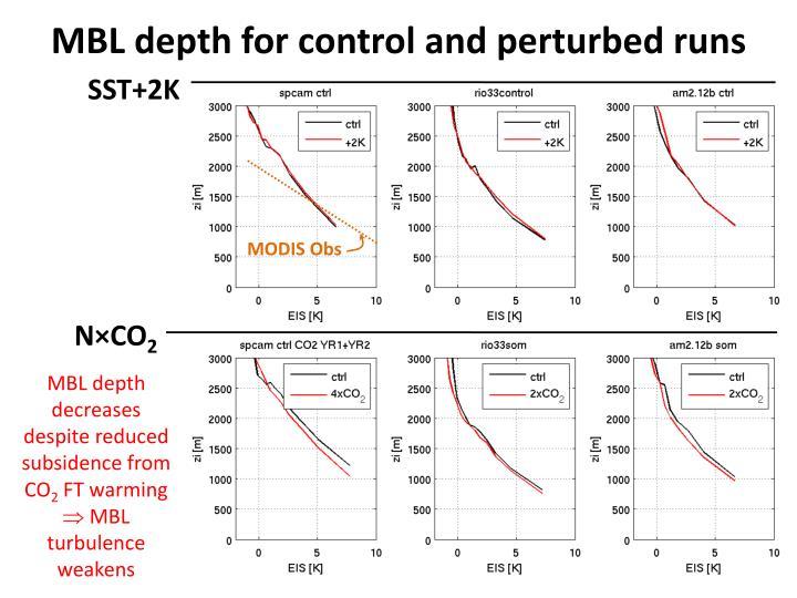 MBL depth for control and perturbed runs
