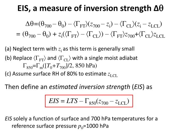 EIS, a measure of inversion strength ∆