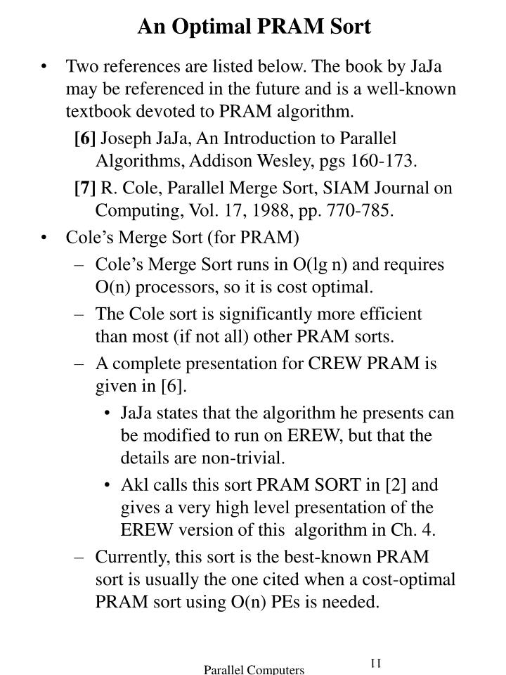 An Optimal PRAM Sort