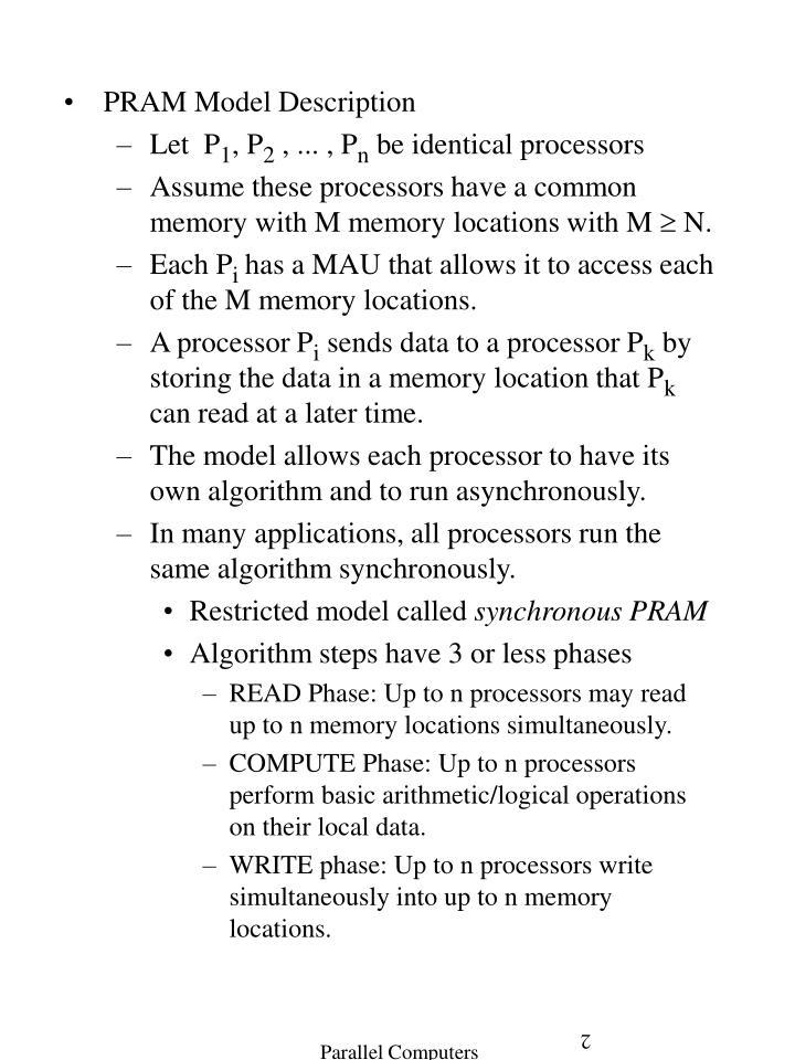 PRAM Model Description