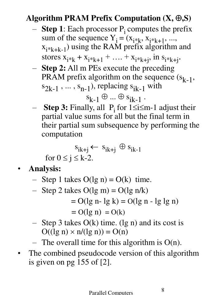 Algorithm PRAM Prefix Computation
