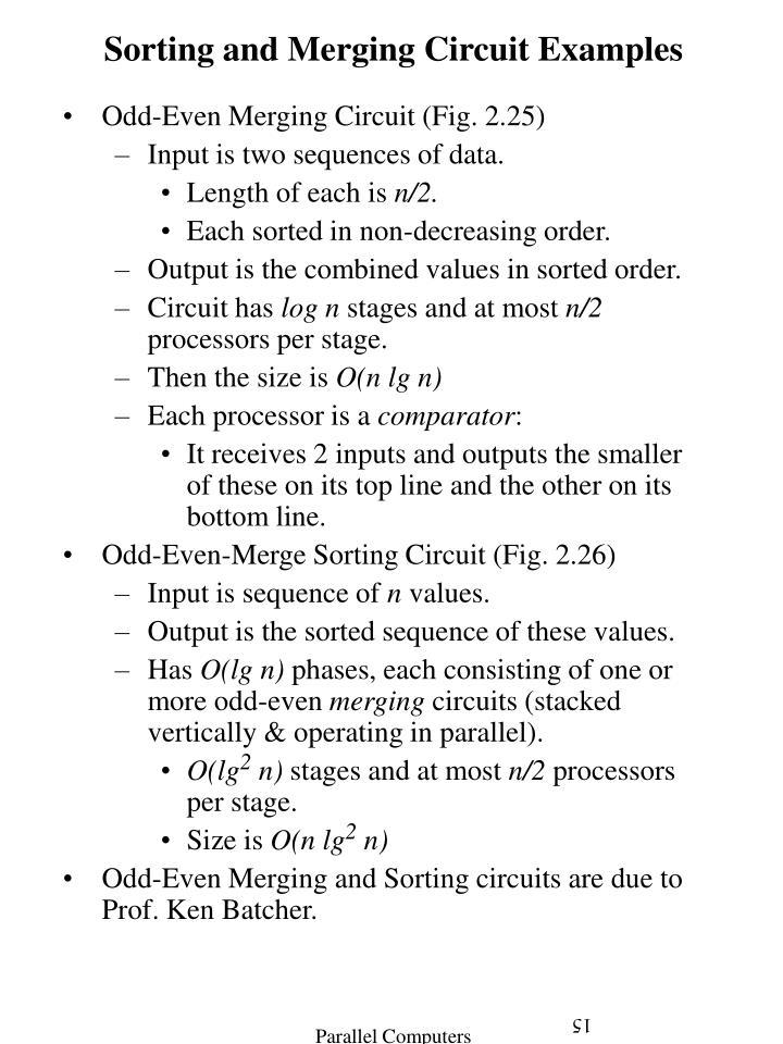 Sorting and Merging Circuit Examples