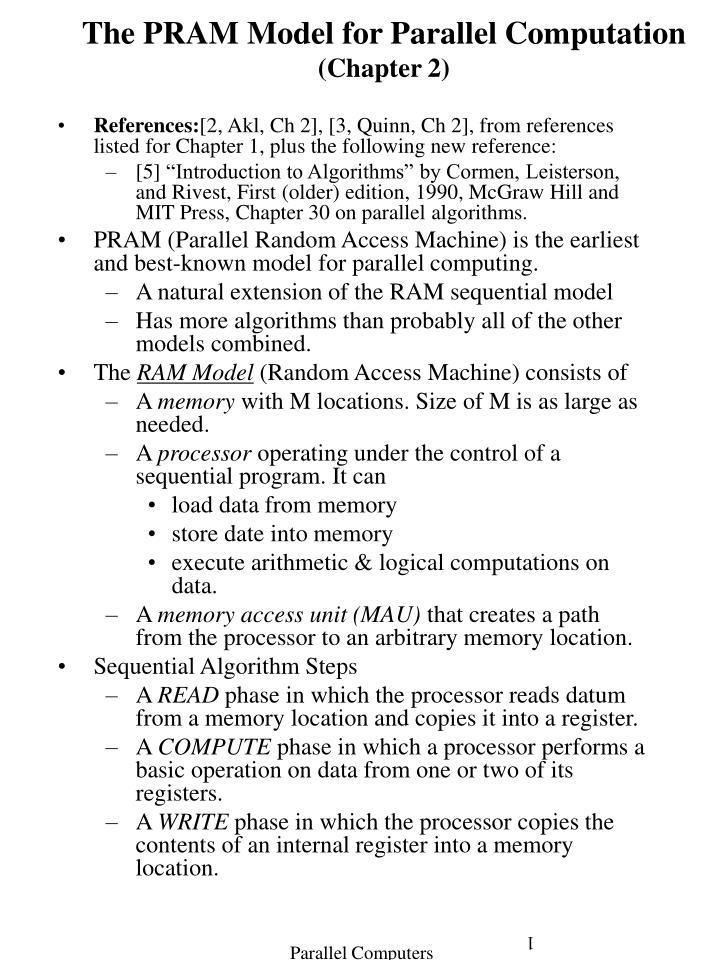 The PRAM Model for Parallel Computation