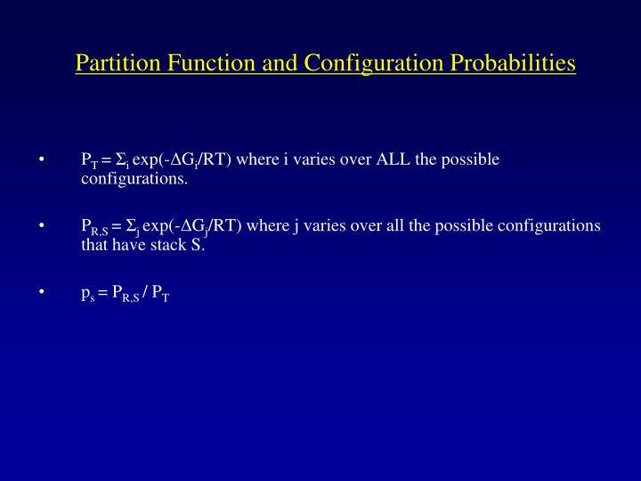 Partition Function and Configuration Probabilities