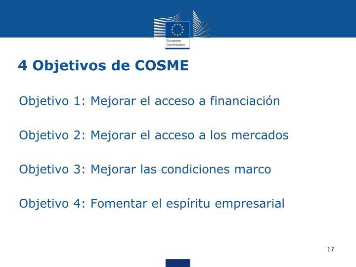 4 Objetivos de COSME