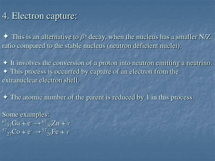 4. Electron capture: