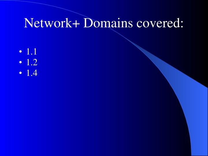 Network+ Domains covered: