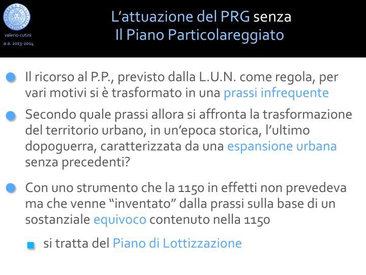 L'attuazione del PRG