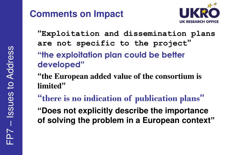 Comments on Impact
