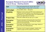 european research council erc a quick recap starting grants