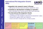 international re integration grants irg
