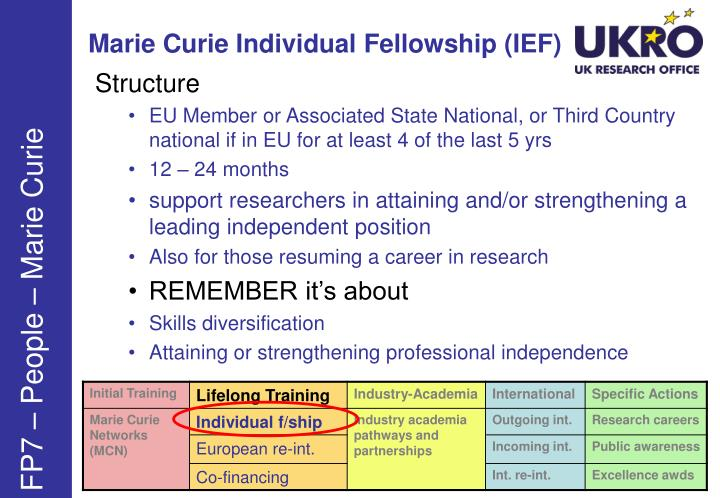 Marie Curie Individual Fellowship (IEF)